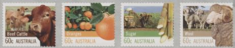 AUS SG3751ca Farming Australia self-adhesive strip of 4 from roll, perf 12½